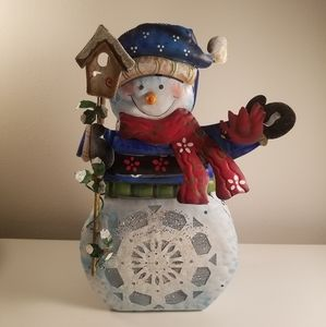 Metal snowman tea light holder